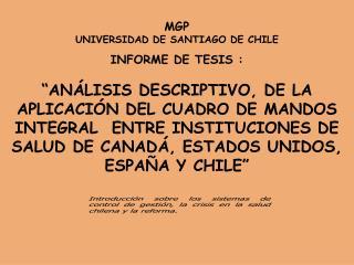 MGP UNIVERSIDAD DE SANTIAGO DE CHILE INFORME DE TESIS :