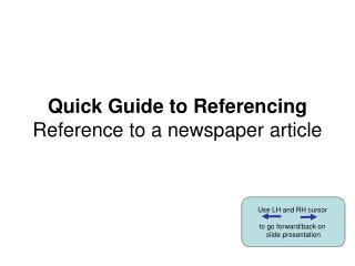 Quick Guide to Referencing