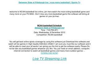 Delaware State at Pittsburgh live | ncaa mens basketball | S