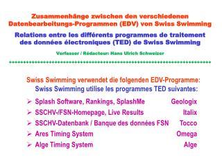 Zusammenhänge zwischen den verschiedenen  Datenbearbeitungs-Programmen (EDV) von Swiss Swimming