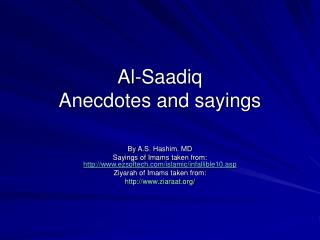 Al-Saadiq Anecdotes and sayings