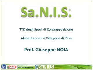 TTD degli Sport  di  Contrapposizione Alimentazione e Categorie di Peso Prof. Giuseppe NOIA