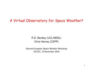 A Virtual Observatory for Space Weather?