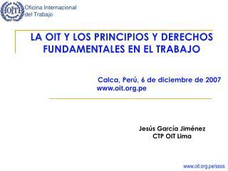 LA OIT Y LOS PRINCIPIOS Y DERECHOS FUNDAMENTALES EN EL TRABAJO Calca, Perú, 6 de diciembre de 2007