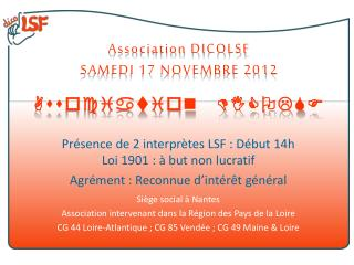 Association DICOLSF SAMEDI 17 NOVEMBRE 2012