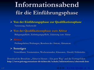 Informationsabend  für die Einführungsphase