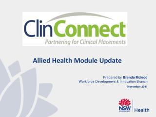 Allied Health Module Update