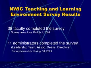 NWIC Teaching and Learning Environment Survey Results