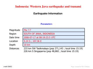 Indonesia: Western Java earthquake and tsunami Earthquake Information