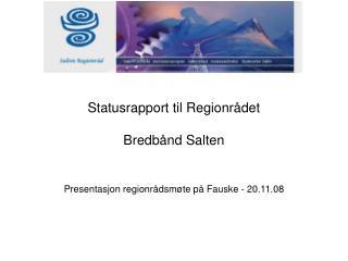 Statusrapport til Regionrådet Bredbånd Salten