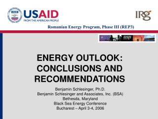 ENERGY OUTLOOK: CONCLUSIONS AND RECOMMENDATIONS