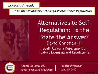 Alternatives to Self-Regulation:  Is the State the Answer?