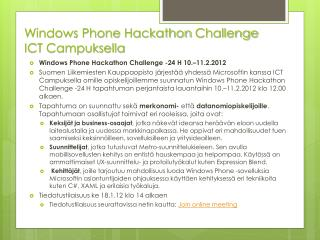 Windows Phone  Hackathon  Challenge   ICT Campuksella
