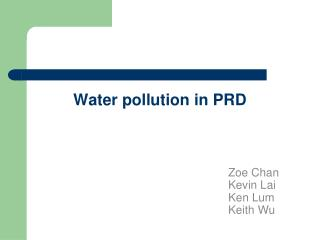 Water pollution in PRD