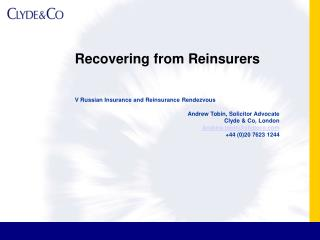 Recovering from Reinsurers