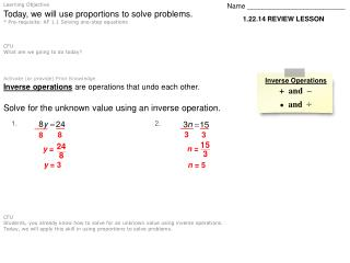 Today, we will use proportions to solve problems.