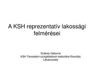 A KSH reprezentatív lakossági felmérései