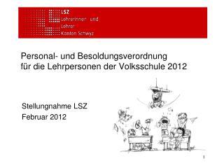Personal- und Besoldungsverordnung für die Lehrpersonen der Volksschule 2012