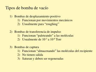Tipos de bomba de vacío