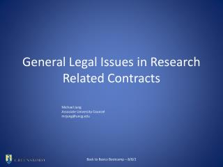 General Legal Issues in Research Related Contracts