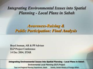 Integrating Environmental Issues into Spatial Planning - Local Plans in Sabah