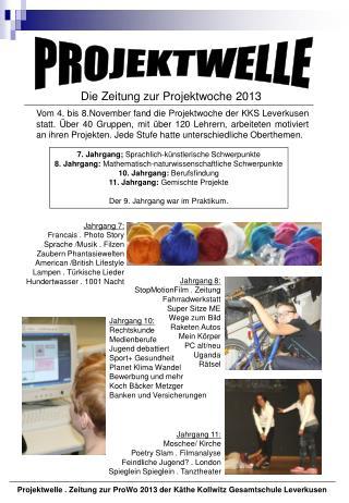Die Zeitung zur Projektwoche 2013