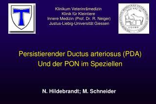 Persistierender Ductus arteriosus (PDA) Und der PON im Speziellen
