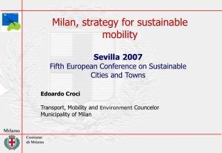 Milan,  strategy for  sustainable mobility
