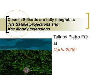 Cosmic Billiards are fully integrable: Tits Satake projections and  Kac Moody extensions