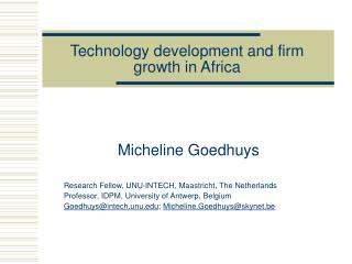 Technology development and firm growth in Africa
