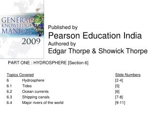 PART ONE : HYDROSPHERE [Section 6] Topics Covered Slide Numbers 6 	Hydrosphere 					[2-4]