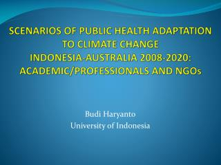 Budi Haryanto University of Indonesia
