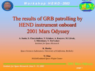 The results of GRB patrolling by HEND instrument onboard  2001 Mars Odyssey