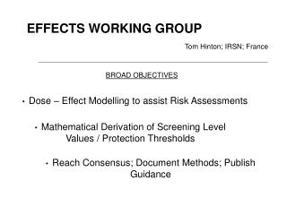 EFFECTS WORKING GROUP
