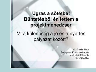 dr. Gajda Tibor Budapesti Kommunikációs  és Üzleti Főiskola tibor@bkf.hu