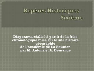 Rep�res Historiques - Sixi�me