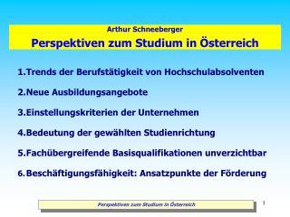 Perspektiven zum Studium in Österreich