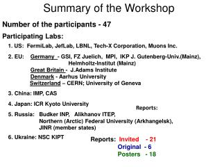 Summary of the Workshop