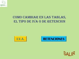Como cambiar en las tablas, el tipo de IVA o de RETENCION