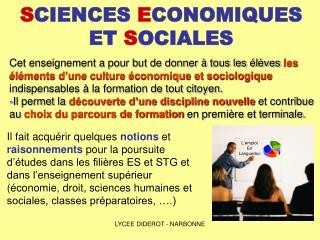 S CIENCES  E CONOMIQUES ET  S OCIALES