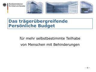 Das tr�ger�bergreifende Pers�nliche Budget