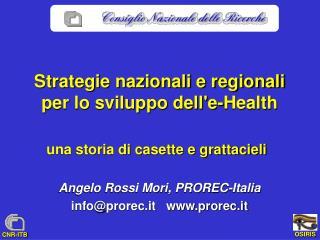 Strategie nazionali e regionali  per lo sviluppo dell'e-Health