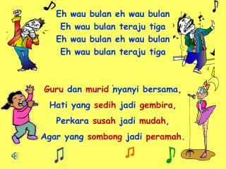 Guru  dan  murid  nyanyi bersama, Hati yang  sedih  jadi  gembira , Perkara  susah  jadi  mudah ,