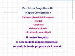 Esistono diversi tipi di mappe: Mentali Cognitive Schemi a blocchi Strutturali/ concettuali