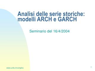 Analisi delle serie storiche: modelli ARCH e GARCH