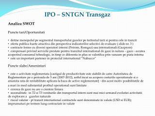 IPO – SNTGN Transgaz