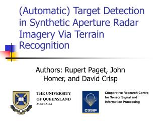 Automatic Target Detection in Synthetic Aperture Radar Imagery Via Terrain Recognition