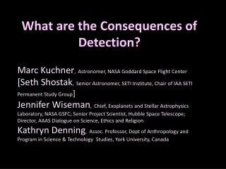 What are the Consequences of Detection?