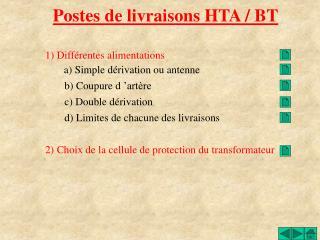 Postes de livraisons HTA / BT