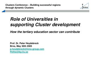 Role of Universities in supporting Cluster development